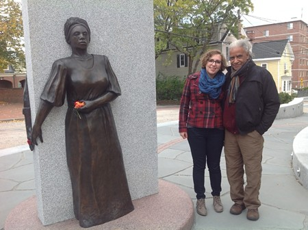Lauren Flotte and Jerome Meadows, designer of the Portsmouth African Burying Ground memorial, visit the memorial site while in Portsmouth, NH for a production of Blank Page Poetry.