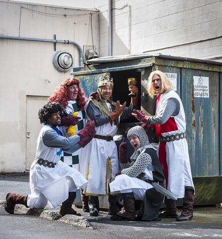 King Arthur (Les Taylor), Sir Robin (Jamie Keena), Sir Lancelot (Nicholas Castillo), Sir Galahad (Chris Bass), Sir Bedevere (Alexander Holcey). - PHOTO BY GEOFF L. JOHNSON