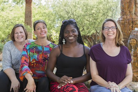 L to R: Health advocates Sandy Baker, Wendy Armstrong, Mahogany Bowers and Teri Schell joined forces as C-Port Youth Empowered Savannah, one of four teams across the nation that spent at week strategizing at Canyon Ranch Institute in Tucson, AZ. - PHOTO COURTESY OF CRI
