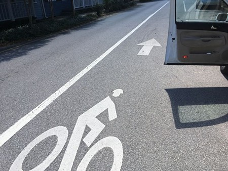 "Use the ""Dutch reach"" in opening your car door to avoid blocking the path of a bicyclist in the bike lane."