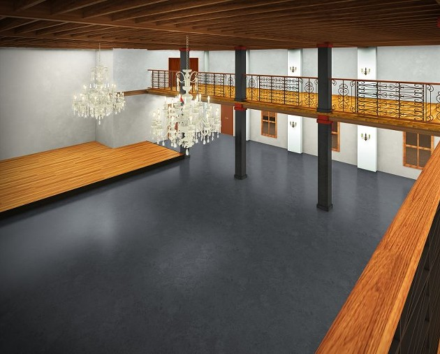Rendering of the completed main room, stage at the left.
