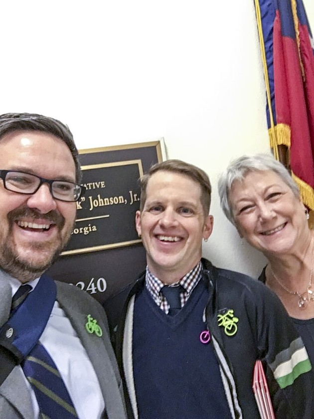 League of American Bicyclists Executive Director Bill Nesper, Georgia Bikes Executive Director Elliott Caldwell, and Cheryl Burnette of Decatur Active Living/City of Decatur outside the office of Rep. Hank Johnson during the 20th Annual National Bike Summit in Washington D.C.