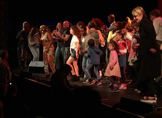 Angelique Kidjo's dance party finale on stage at the Lucas.