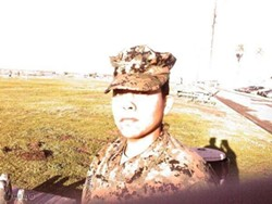 Pastor Candace Hardnett during her Marine Corps days.