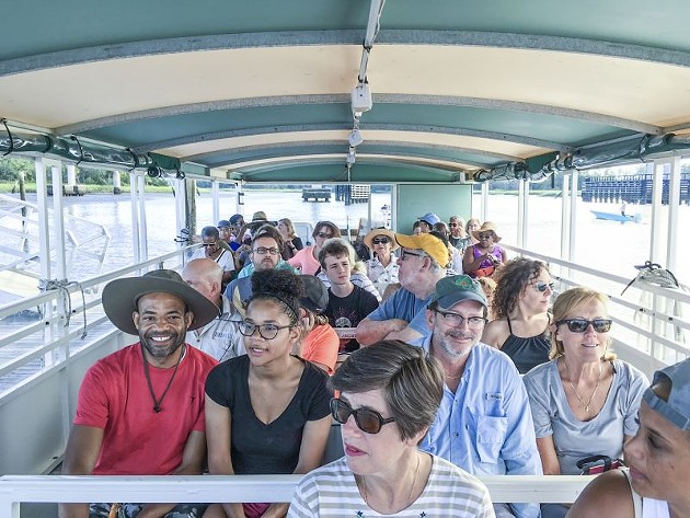 On the boat to Ossabaw Island for Lift Every Voice tour in 2018. Photo by Elizabeth DuBose.