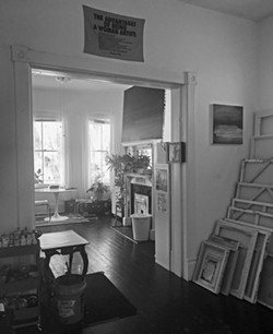 Inside the artist's studio.