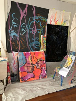 Inside the artist's studio.