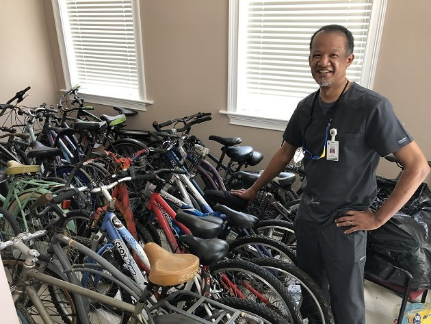Harold Oglesby with bikes donated from 100 Black Men of Savannah.