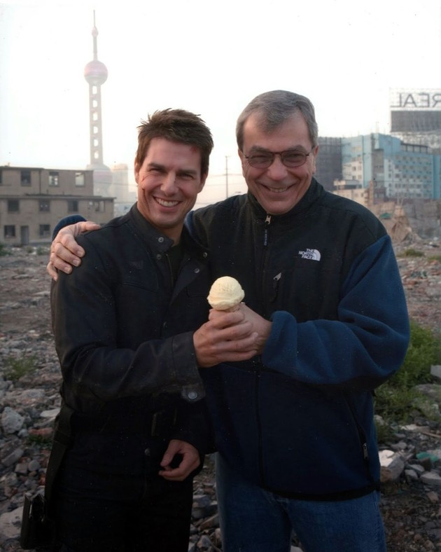 "Tom Cruise with Stratton Leopold on the set of ""Mission Impossible."""