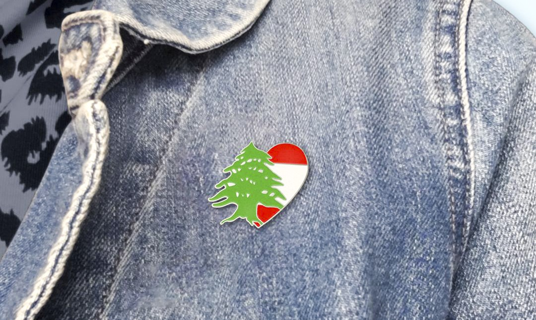 The Love for Lebanon pin makes a nice addition to any lapel.