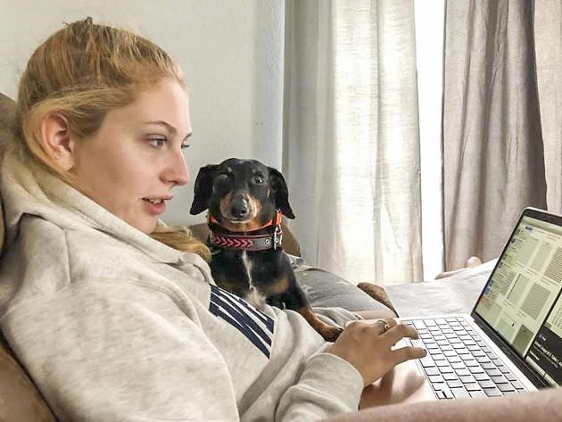 Micha helping Sarah with her statistics class.