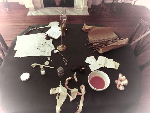 Rooms in the house have been altered to reflect life during the 1820 Yellow Fever pandemic; this is a bleeding table for victims