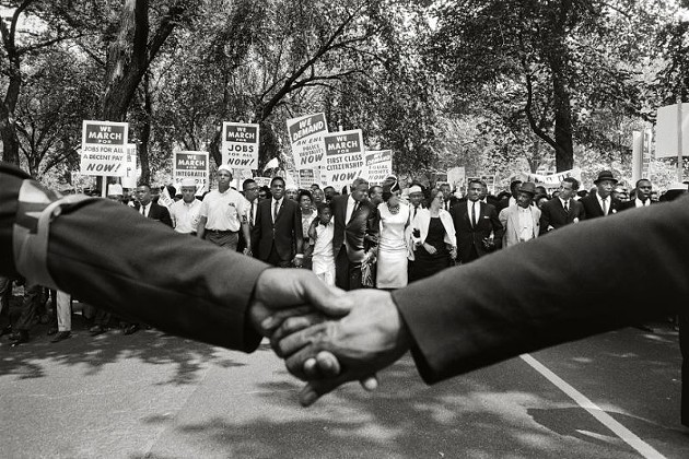 """Jackie Robinson, Rosa Parks, and Other Activists March on Washington"" by Steve Schapiro, 1963. Copyright of the artist and courtesy of Laney Contemporary, Savannah, and Jackson Fine Art, Atlanta."