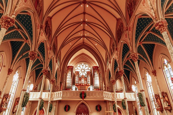 The interior of Savannah's Cathedral Basilica of St. John the Baptist, decorated for Christmas. - ADRIANA IRIS BOATWRIGHT