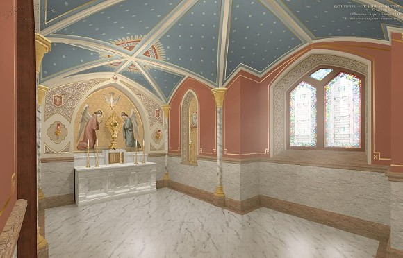 A graphic of the plans for the renovated Regina Coeli Hall at  Savannah's Cathedral Basilica of St. John the Baptist. - COURTESY OF THE CATHEDRAL BASILICA OF ST. JOHN THE BAPTIST
