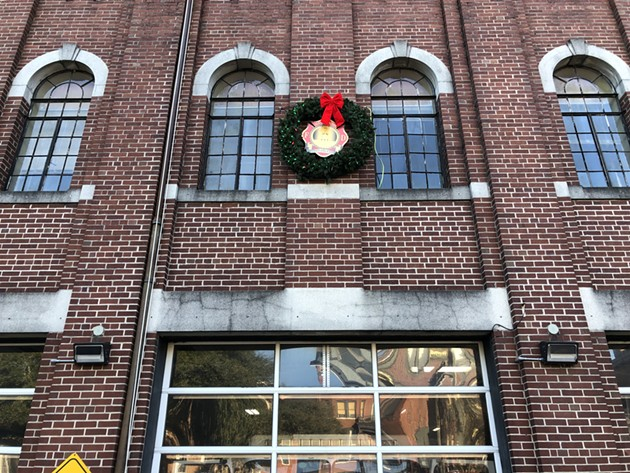 The fire-safety wreath hanging at Savannah Fire headquarters in December. - NICK ROBERTSON/CONNECT SAVANNAH