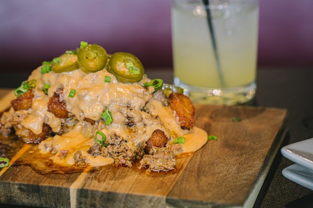 The Totchos, one of many unique dishes served at Bar Food Sports. - LINDY MOODY