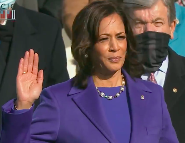 Vice-President Kamala Harris is sworn in while wearing attire designed by SCAD graduate Christopher John Rogers. - COURTESY OF WIKIPEDIA