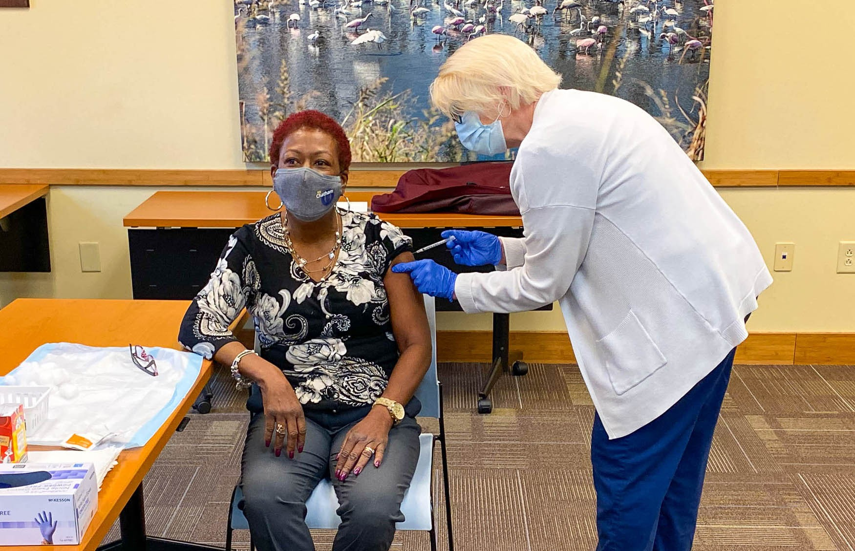Chatham County Commissioner Tanya Milton receives her coronavirus vaccination shot. - COURTESY OF CHATHAM COUNTY