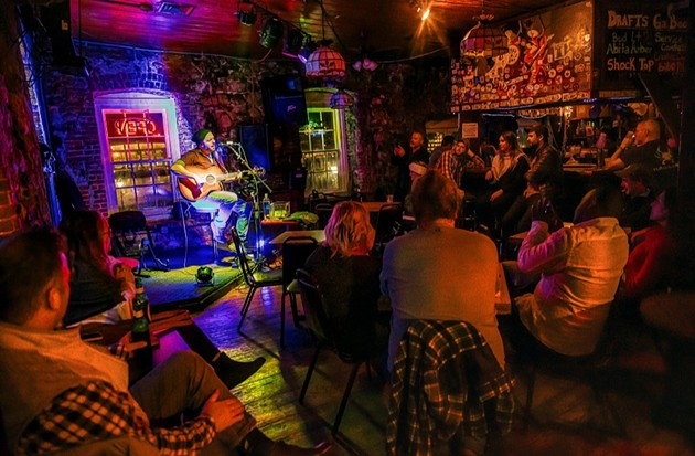 The small stage at Bayou Cafe welcomed innumerable musicians over the decades. - COURTESY OF THE BAYOU CAFE