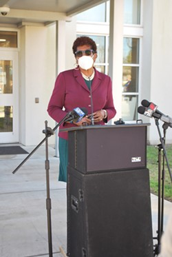 Savannah-Chatham County School System Superintendent Ann Levett announces the arrival of the first shipment of food from Second Harvest Food Bank to Andrea B. Williams Elementary School on Feb. 16. - NOELLE WIEHE/CONNECT SAVANNAH