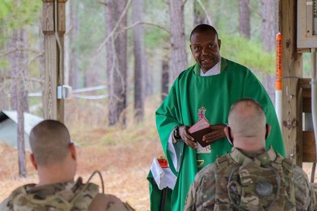 U.S. Army Capt. Peter Nwokoye, a chaplain with the 1st Battalion, 9th Field Artillery Regiment, 2nd Armored Brigade Combat Team, on Fort Stewart. - PFC. SUMMERMADELEINE KEISER