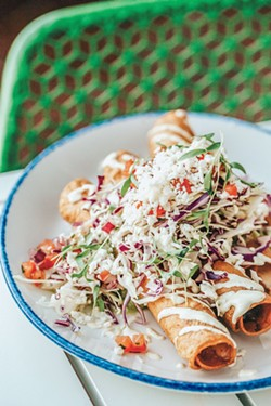The Chicken Tinga Flautas, available on the main menu at the Savannah Tequila Company. - PHOTO BY LINDY MOODY