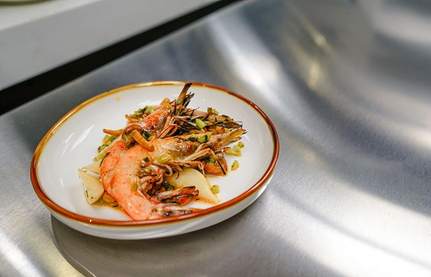 A dish is presented ahead of the upcoming Taste of Ardsley Station culinary event to be held March 25 at the Trustees' Garden Tasting Kitchen in Savannah. - PHOTO BY HUNTER MCCUMBER