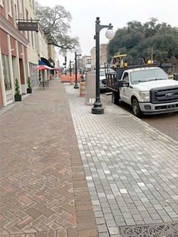 The portion of E. Broughton St. closest to Martin Luther King Jr. Blvd. shows new light fixtures and brick. - PHOTO COURTESY OF THE CITY OF SAVANNAH