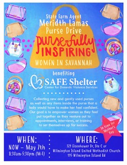 The Purse-fully purse drive is now accepting new or gently used purses and accessories at two locations: the State Farm office and the Wilmington Island Methodist Church, until May 7. - IMAGE COURTESY OF SAFE SHELTER