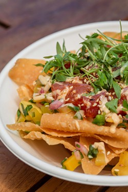The Tuna Nachos are made with presentation in mind at Riverside Sushi. - PHOTO BY LINDY MOODY