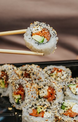 The Everything Bagel roll at Riverside Sushi. - PHOTO BY LINDY MOODY
