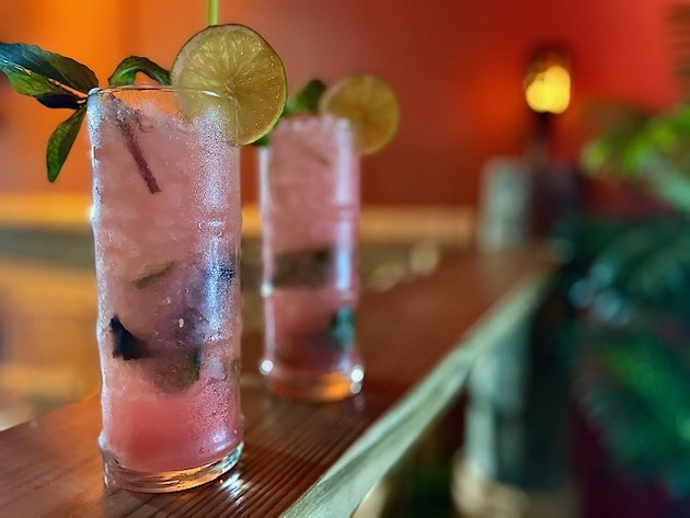 Bartenders mix up a couple of Watermelon Mojitos at Water Witch Tiki ahead of the upcoming Tails & Ales festival to benefit the Humane Society for Greater Savannah. - PHOTO COURTESY OF WATER WITCH TIKI