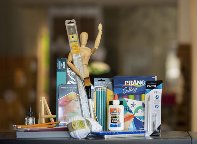 Art supplies are organized and ready for packing for pickup by a teacher for a local Savannah Chatham County Public School. - PHOTO COURTESY OF SCAD