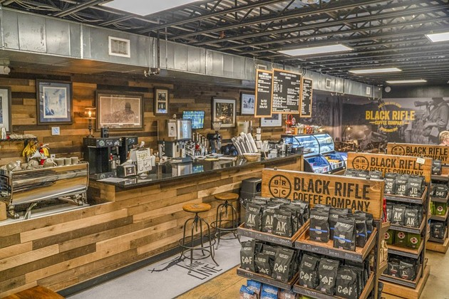 Black Rifle Coffee Company coffee and apparel await purchase at the River St. location. - PHOTO COURTESY OF NINE LINE FOUNDATION