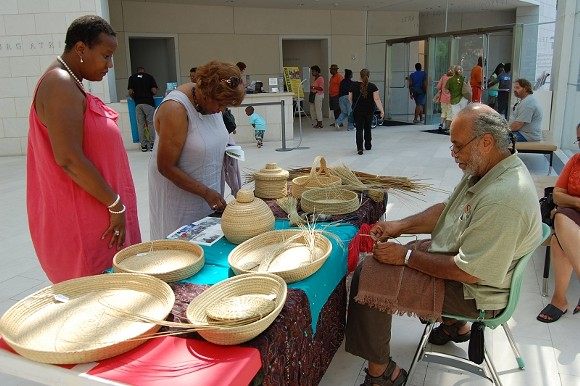 Sweetgrass basketweaver Gregory Grant and Gullah Geechee Chieftess and Head of State Queen Quet pass on the West African traditions that still thrive in the Lowcountry.