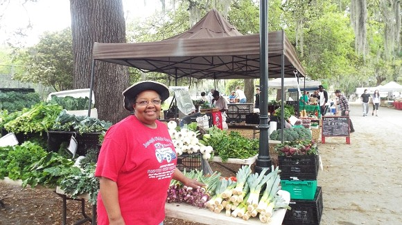 Helen Fields says one of her favorite foods to make from her farm-grown bounty is squash casserole.  She can be found most Saturdays at the Forsyth Farmer's Market.