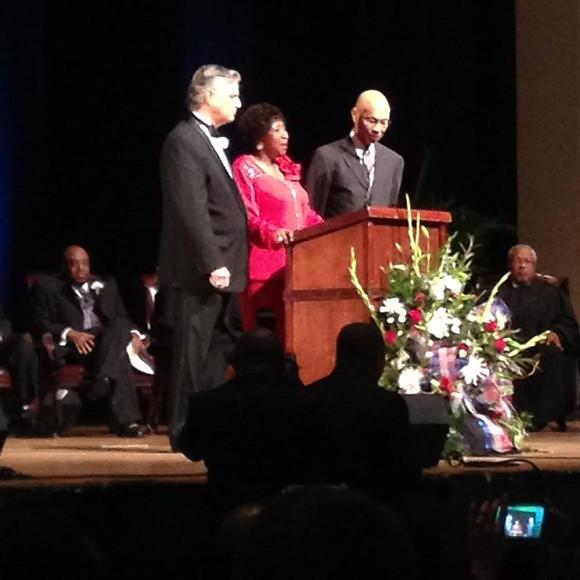 Mayor Eddie DeLoach, former Mayor Edna Jackson, and former Mayor Otis Johnson; Alderman Van Johnson looks on from the background at left