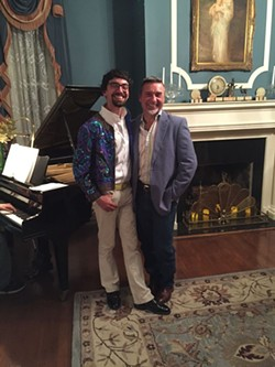 Pride and joy: Honorees Clinton Edminster and Mark Hill strike a pose near the piano in one of the most sumptuous living rooms in all of Savannah.