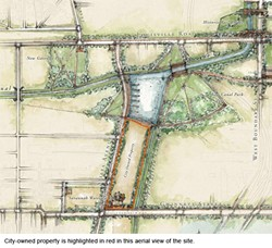 An aerial view of the proposed Westside site