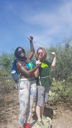 Bowers and Schell took time out for a desert hike, taking care to avoid prickly pear cactus along the trail. - PHOTO COURTESY OF MAHOGANY BOWERS