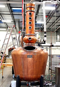 The heart of the operation is the 500-gallon handcrafted Vendome copper pot still that was custom-made in Kentucky and purchased long before the Ghost Coast building.
