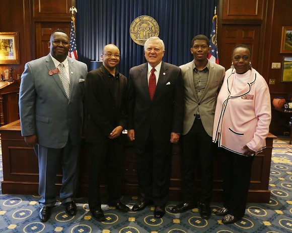 (L to R) Rep. Carl Gilliard, Will Martin, Gov. Nathan Deal, Kareem McMichael and Rep. Mabel Thomas gathered in Atlanta to recognize the Georgia Film Academy graduates.