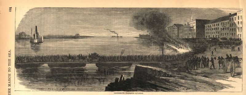 An image from the era depicting the Confederate evacuation of Savannah on a bridge made of barges, leaving from the downtown waterfront.