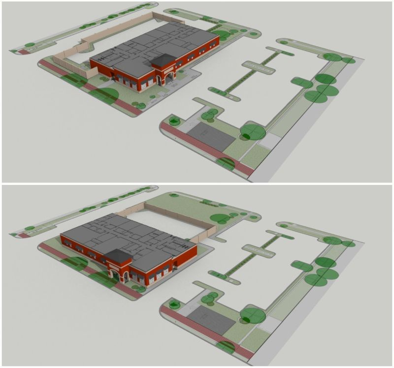 Figure Five: 3D visualization of current site plan (top) and neighborhood-suggested changes