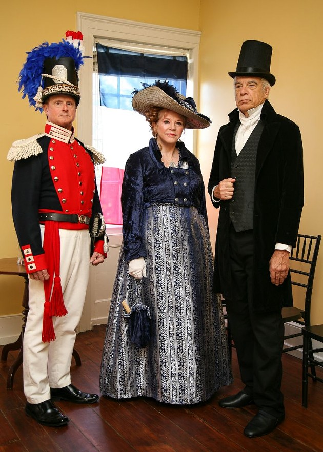 Historical reenactors Jeff Freeman, Jan Vach and Greg Vach present Lafayette in Savannah 1825. - PHOTO BY JON WAITS