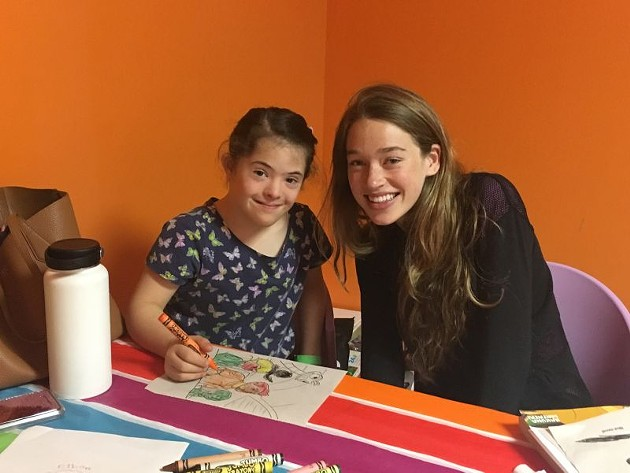 Pia Langley (l.) and Kate Bailey share some special time on Saturday mornings once a month at Monkey Joe's.