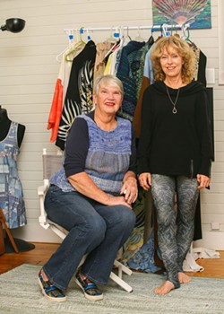 Suzy Hokanson (l.) will showcase her globally-inspired textiles along with kimonos and leggings designed by Male (r.), who is organizing the event. - PHOTO BY JON WAITS