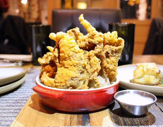 The Husk Fried Chicken Skins with white barbeque sauce.