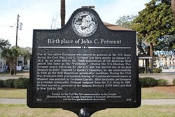This Georgia Historical Society marker near Yamacraw Village is virtually the only local acknowledgement of Savannah native John C. Frémont, a key figure in American history.